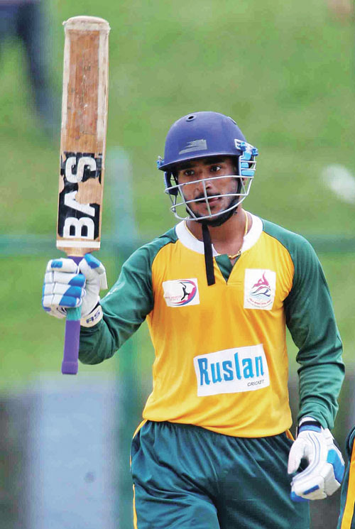 Saurav Khanal of Western Region celebrates his half century against Central Region during their first Prime Minister Cup One-day National Menu0092s Cricket Tournament match in Kathmandu on Wednesday, May 31, 2017. Photo: Udipt Singh Chhetry/ THT
