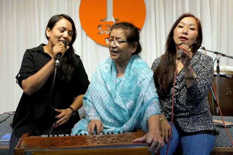 Singer and Musician Shanti Thatal, along with Meena Niraula and Sonu Rai, reherse for the Paleti series, in Kathmandu, on Wednesday, June 21, 2017. Photo: Nepalaya