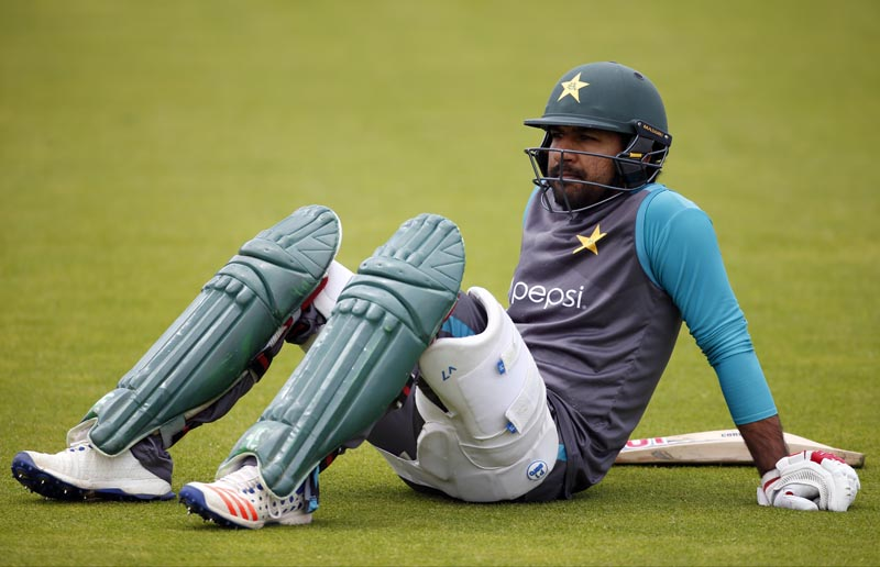 Pakistan's Sarfraz Ahmed during net practice session, in The Oval, on June 16, 2017. Photo: Reuters