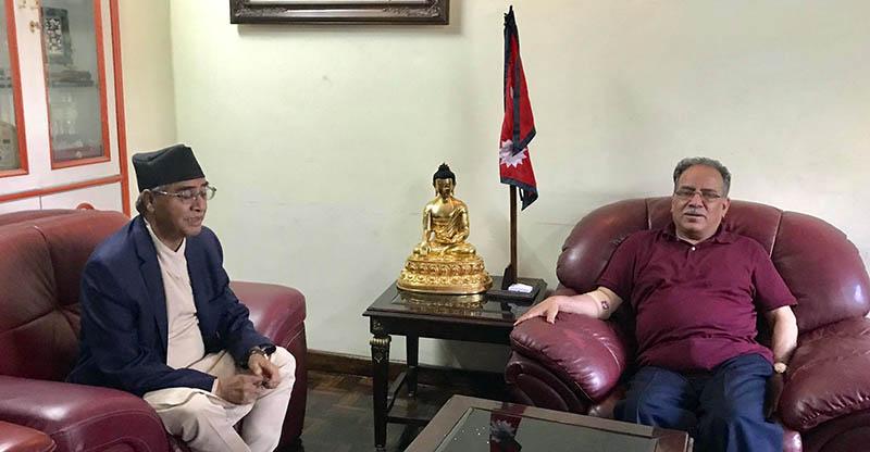 PM Deuba meets former PM Pushpa Kamal Dahal at latter's residence in Lazimpat, Kathmandu, on Monday, June 12, 2017. Courtesy: PM's Secretariat