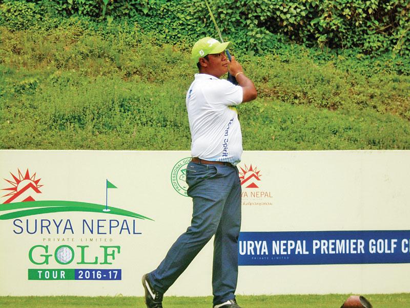 Nepal No 1 pro Shivaram Shrestha plays a shot during the third round of the Surya Nepal Premier Golf Championship at the Gokarna Golf Club in Kathmandu on Wednesday, June 08, 2017. Photo Courtesy: Gokarna Golf Club