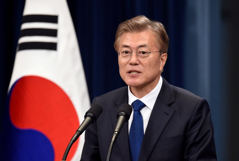South Korea's new President Moon Jae-In speaks during a press conference at the presidential Blue House, in Seoul, on May 10, 2017. Photo: Reuters