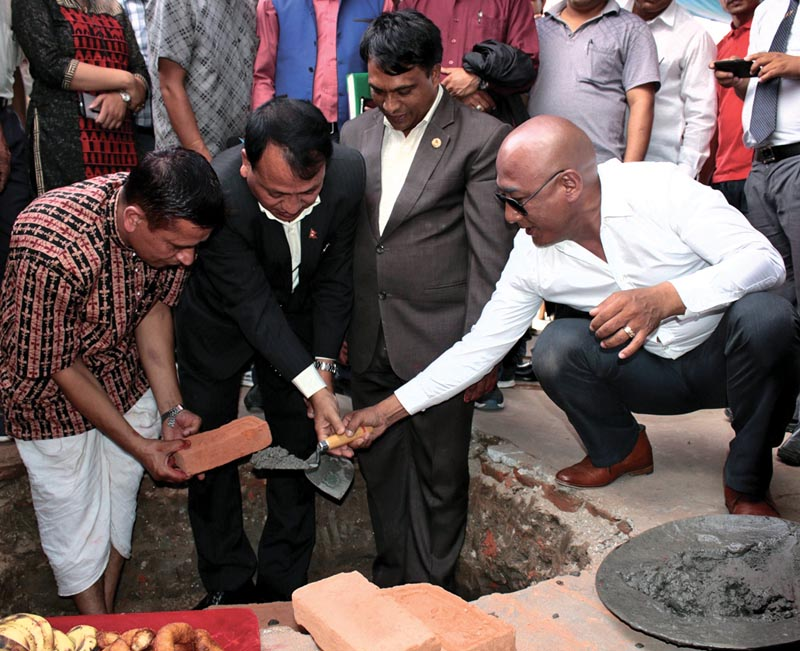 (From left) NSC Member Secretary Keshab Kumar Bista, former Sports Minister Daljit Sripaili and NSC nVice-president Lama Tendi Sherpa laying the foundation stone of the sports hospital in Kathmandu, on Sunday. Photo: THT