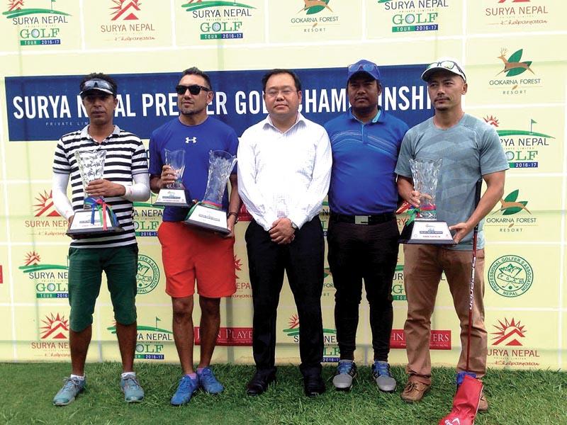 (From left) Bharat Bastakoti, Charlie Gurung, Surya Nepal Pvt Ltd Marketing Manager Bal Kishan Gurung, Pro Sanjay Lama and Tashi Dong after the Surya Nepal Premier Golf Championship in Kathmandu on Friday. Photo: THT