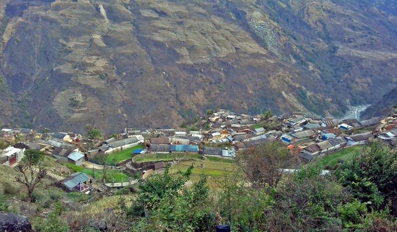 A view of Tangting Basti in Kaski district, near Pokhara-Lekhnath Metropolitan City, on Saturday, June 24, 2017. Photo: RSS