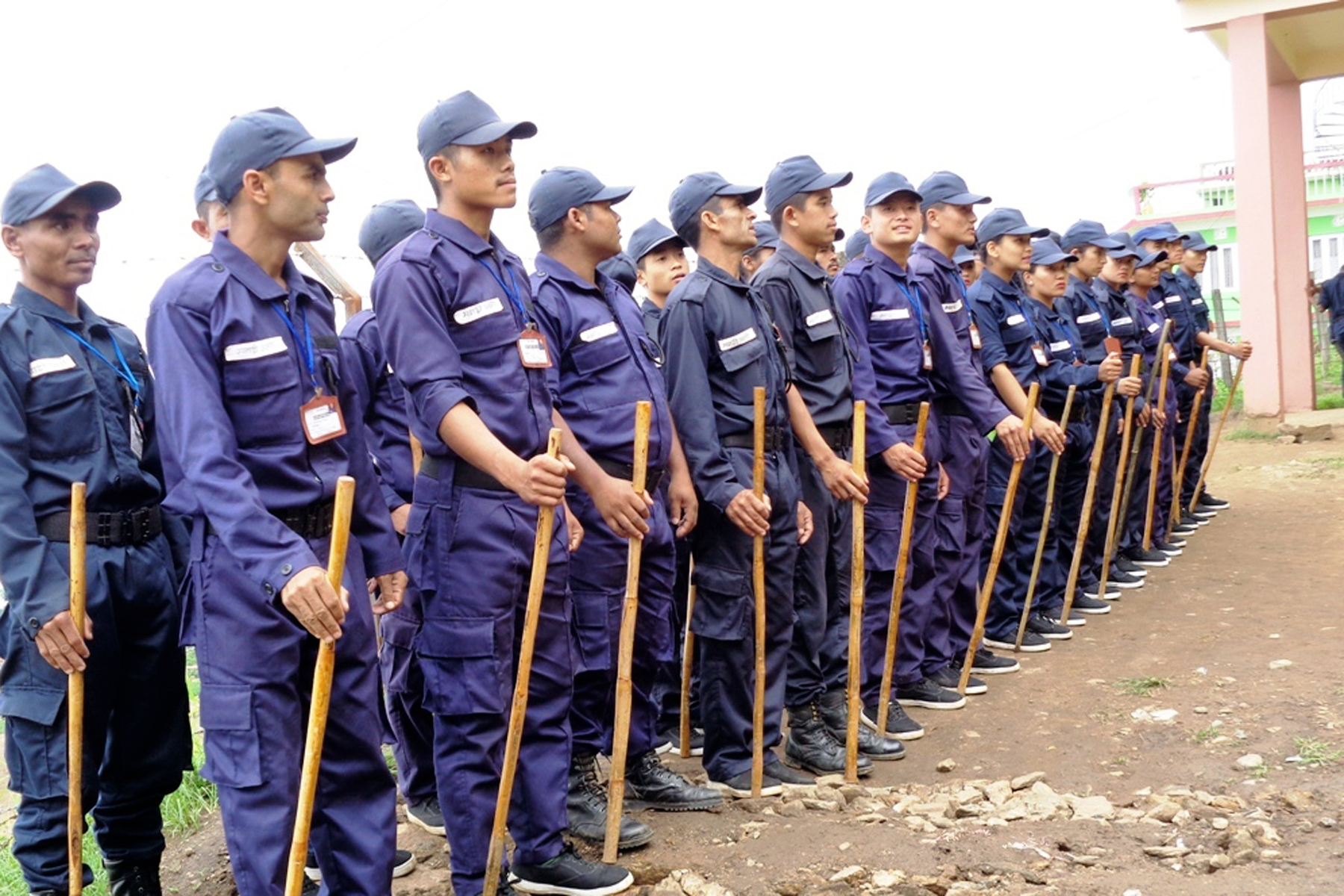 Temporary police personnel guard the Office of the Chief Returning Officer in Ilam, on Sunday, June 18, 2017. Photo: RSS