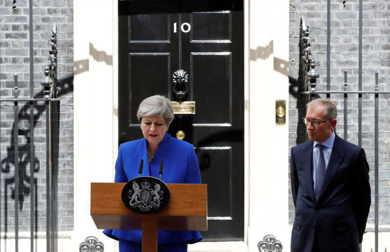 Britain's Prime Minister Theresa May addresses the country after Britain's election at Downing Street in London, Britain on June 9, 2017. Photo: Reuters
