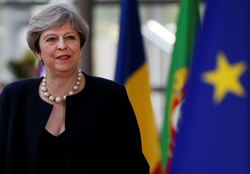 British Prime Minister Theresa May arrives at the EU summit in Brussels, Belgium, on June 22, 2017. Photo: Reuters