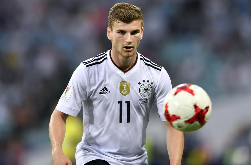 Germany's Timo Werner eyes the ball during the Confederations Cup, Group B soccer match between Germany and Cameroon, at the Fisht Stadium in Sochi, Russia, on Sunday, June 25, 2017. Photo: AP