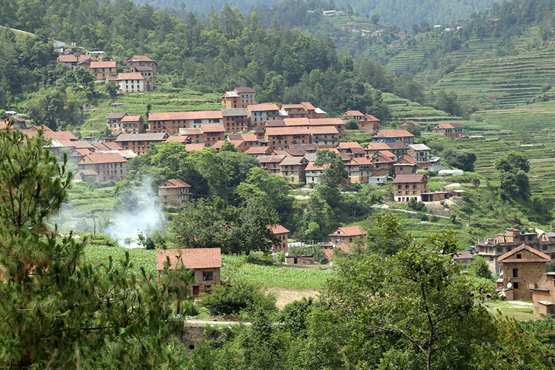 A traditional Newar settlement in Tistung Palung in Makwanpur district as captured on Friday, June 2, 2017. Photo: RSS