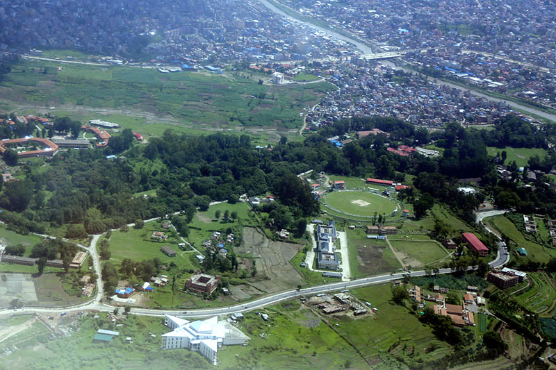 An ariel view of Tribhuvan University in Kirtipur, as captured on Thursday, June 29, 2017. Photo: RSS