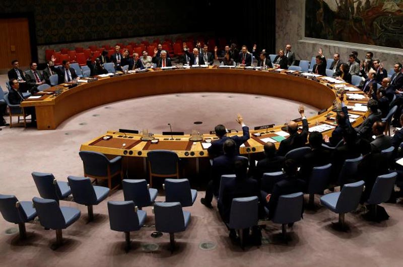 The United Nations Security Council vote on a resolution to expand its North Korea blacklist after the Asian state's repeated missile tests, at the UN headquarters in New York, US, June 2, 2017. Photo: Reuters