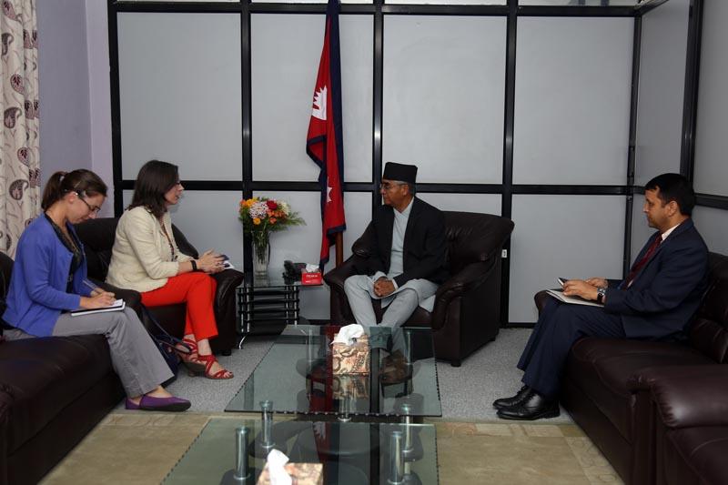 US Ambassador to Nepal Alaina B Teplitz calls on Prime Minister Sher Bahadur Deuba at the latter's  office at Singhadurbar on June 8, 2017. Photo: RSS