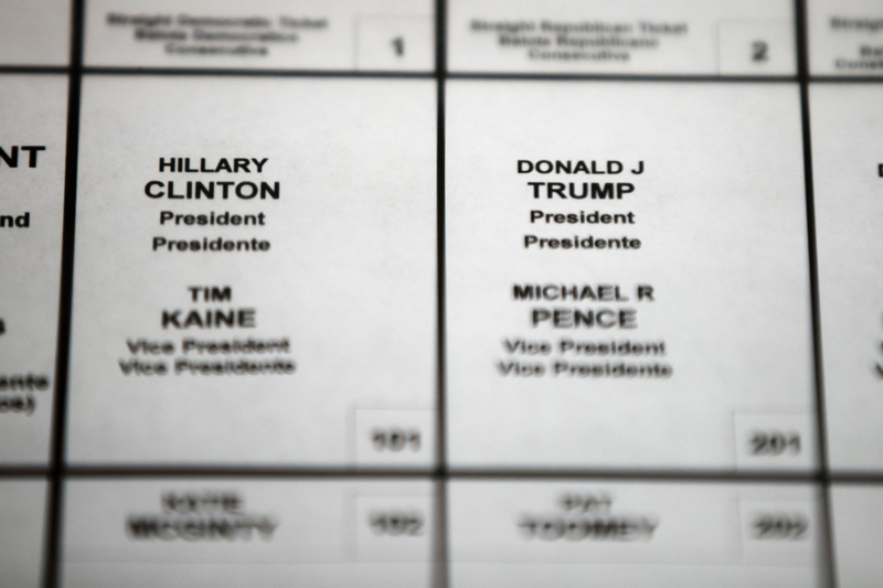 FILE - This October 14, 2016 file photo shows Democratic presidential candidate Hillary Clinton's and Republican presidential candidate Donald Trump's names printed on a ballot on a voting machine to be used in the upcoming election, in Philadelphia. Photo: Associated Press