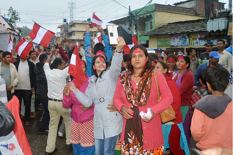 Locals take out a rally after Sher Bahadur Deuba was elected as the 40th PM of Nepal in district headquarters Dadeldhura on Wednesday, June 7, 2017. Photo: RSS