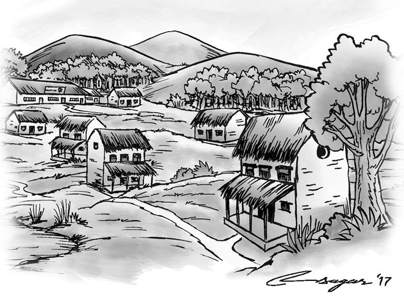 Village. Illustration: Ratna Sagar Shrestha/THT