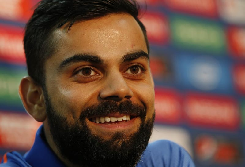 India's Virat Kohli during the press conference, on June 17, 2017. Photo: Action Images via Reuters