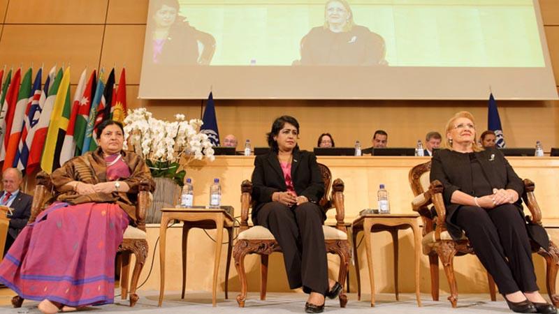 Nepal's President Bidya Devi Bhandari (left), Mauritian President Ameenah Gurib-Fakim (centre) and Maltese President Marie-Louise Coleiro Preca take part in World of Work Summit held as part of the 106th Session of the International Labour Conference in Geneva, Switzerland, on Thursday, June15, 2017. Photo courtesy: ILO