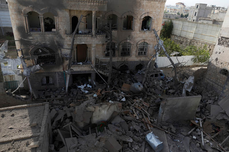 A view of the site of a Saudi-led air strike that destroyed a house in Sanaa, Yemen, on June 9, 2017. Photo: Reuters/ File