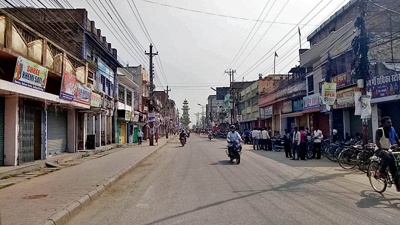 Birgunj Bazaar shut down after the general strike called by Rastriya Janata Party-Nepal against the second phase of the local level election going to be held on Provinces 1, 5 and 7, Sunday 18, 2017. Photo: Ram Sarraf