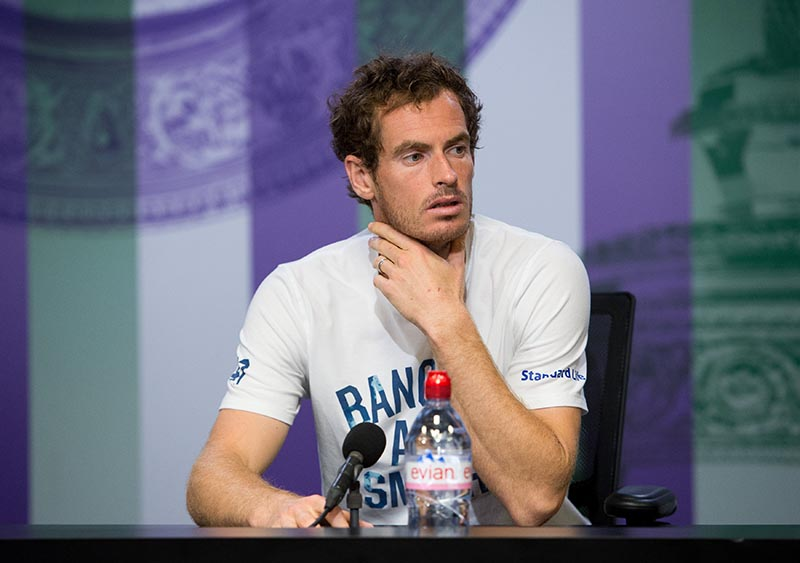 Great Britainu2019s Andy Murray during a press conference after losing his quarter final match against Sam Querrey of the US. Photo: Reuters