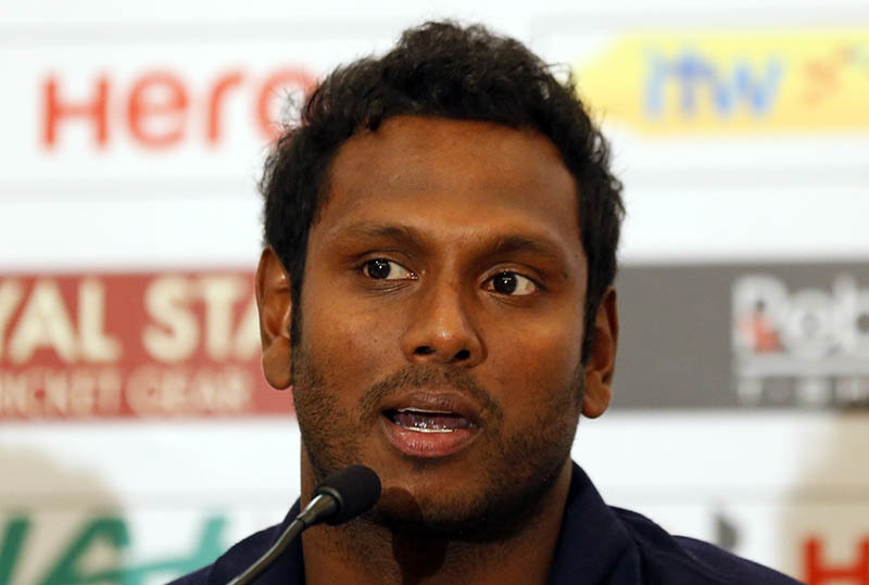 Sri Lankan cricket captain Angelo Mathews speaks during a media briefing ahead of their cricket match series against Zimbabwe in Colombo, Sri Lanka, Tuesday, June 27, 2017. Photo: AP
