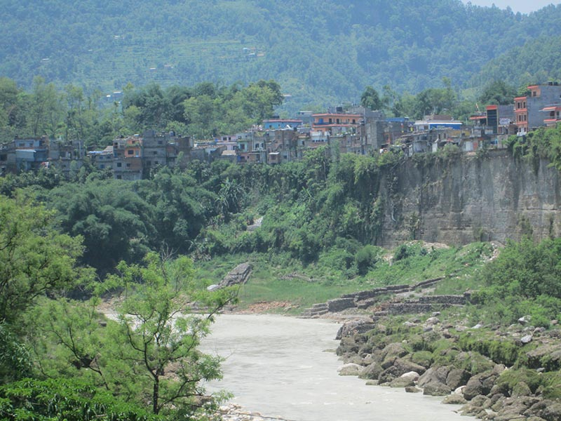 A view of Bhimad Bazaar, the main trade hub of the south western region of the district, which is at high risk of erosion due to flood in the Seti River, in Tanahun, on Sunday, July 23, 2017. Photo: THT