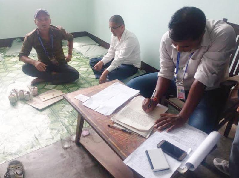 The CIAA team preparing to send Assistant Cooperative Inspector Subash Gadtaula to Itahari-based CIAA office for further investigation after he was arrested with bribe money from Lahan-based division office, in Siraha, on Wednesday, July 26, 2017. Photo: THT