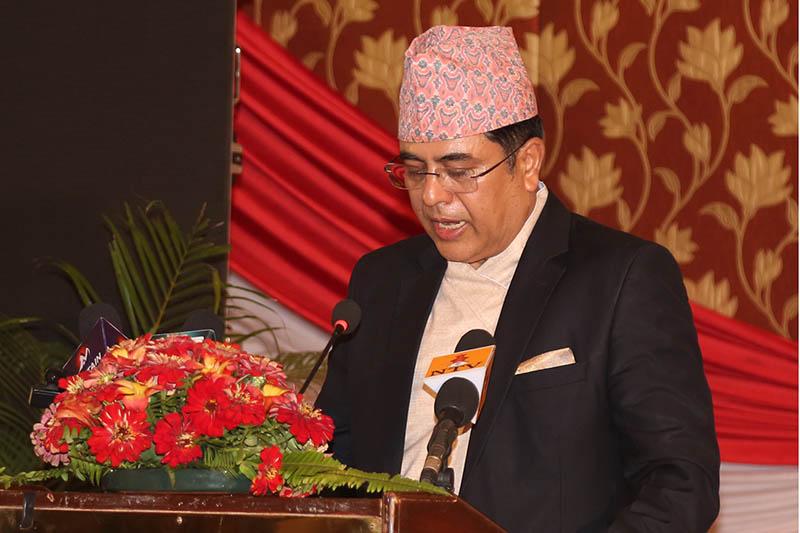 Nepal Rastra Bank governor Chiranjibi Nepal announces Monetary Policy in Kathmandu, on Sunday, July 9, 2017. Photo: RSS