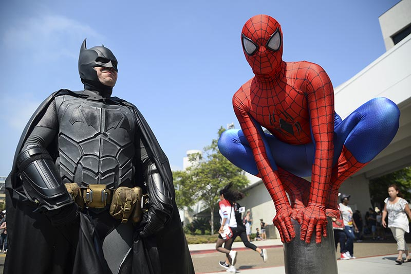 Dorian Black, left, dressed as Batman and Kyle Blankenfield, dressed as Spider-Man appear outside during Comic-Con International in San Diego, on July 23, 2016. Photo: AP/ Files