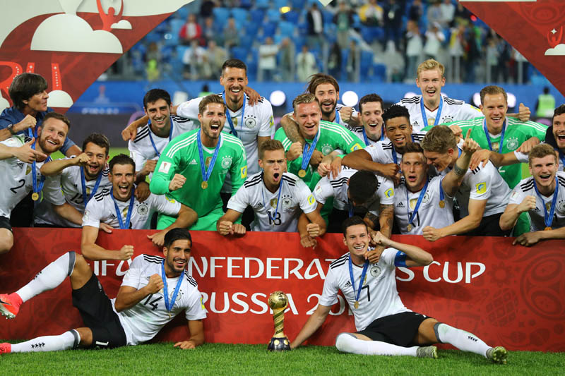 Germany celebrate with the trophy after winning the FIFA Confederations Cup Russia 2017 final match between Chile and Germany at Saint Petersburg Stadium, St. Petersburg, Russia, on July 2, 2017. Photo: Reuters