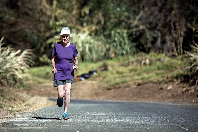 Deirdre Larkin (85), holder of the half marathon world record in the 85+ category, trains in Johannesburg, South Africa, on June 14, 2017. Photo: AFP