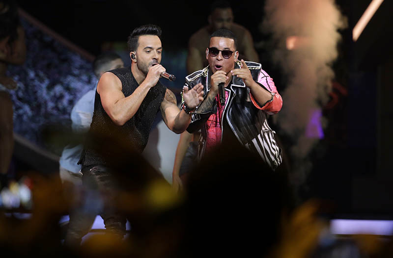 FILE - In this April 27, 2017 file photo, singers Luis Fonsi, left and Daddy Yankee perform during the Latin Billboard Awards in Coral Gables, Fla. Photo: AP