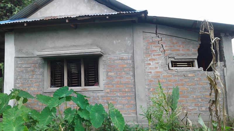 A house that was damaged after wild elephants attacked it in Panbari of Dharan Sub-metropolitan City, in Sunsari, on Thursday, July 27, 2017. Photo: THT