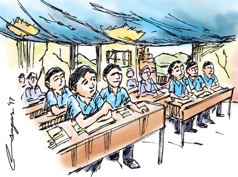 Earthquake survivor students. Illustration: Ratna Sagar Shrestha/THT