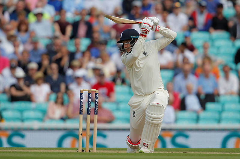England's Joe Root plays an exquisite cover drive against South Africa during third test match at the Oval in England, on Sunday, July 30, 2017. Photo: Reuters
