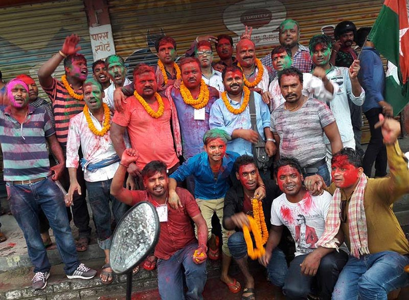 Leaders and cadres of Federal Socialist Forum-Nepal posing for photographs after Sanjaya Kumar Sha and his panel won the election in Ward No 18 of Biratnagar Metropolitan City, Morang, on Tuesday, July 4, 2017. Photo: THT