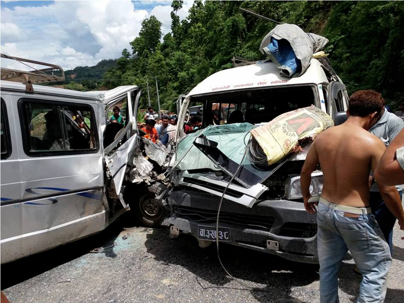 The wreckage of the two microbuses that collided head-on with each other in Gajuri Municipality-2 in Dhading, on Tuesday, July 25, 2017. Photo: Keshav Adhikari