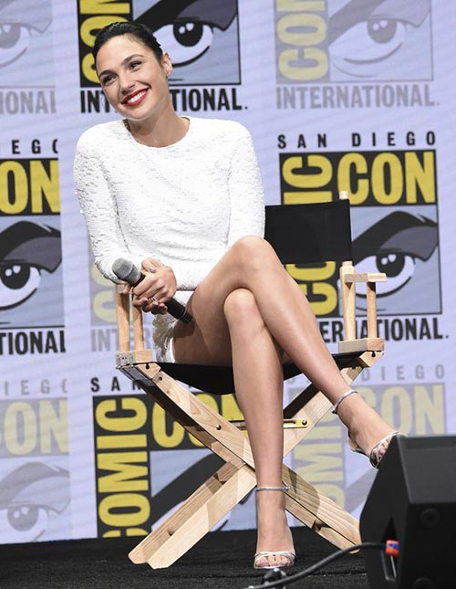 Gal Gadot attends the Warner Bros. u201cJustice Leagueu201d panel on day three of Comic-Con International,  in San Diego, on Saturday, July 22, 2017. Photo: AP