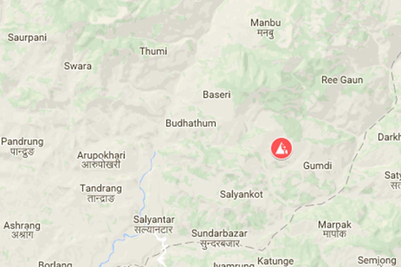 Pundrung village at Gangajamuna Rural Municipality-2 in Dhading district with high risk of landslide.