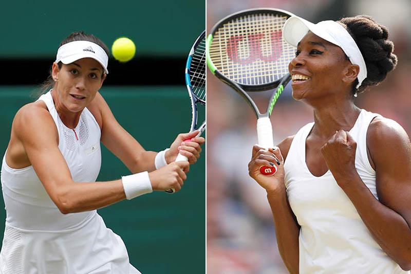 Spain's Garbine Muguruza (left) and US's Venus Williams. Photos: Reuters