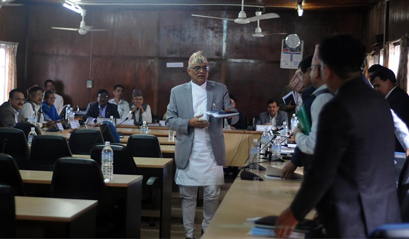 Acting Chief Justice Gopal Prasad Parajuli at the Parliamentary Hearing Special Committee on Sunday, July 16, 2017. Photo: RSS