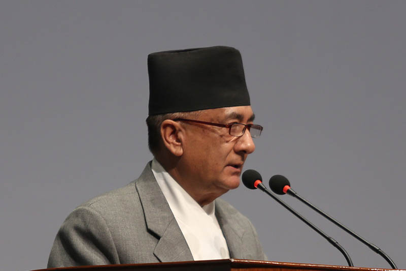 Minister for Finance Gyanendra Bahadur Karki speaks at the Parliament, on Monday, July 10, 2017. Photo: RSS