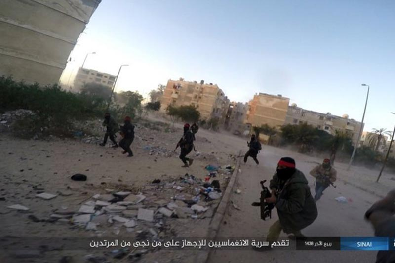 This photo posted on a file sharing website Wednesday, January 11, 2017, by the Islamic State Group in Sinai, a militant organization, shows a deadly attack by militants on an Egyptian police checkpoint, in el-Arish, north Sinai, Egypt. Photo: AP/ File