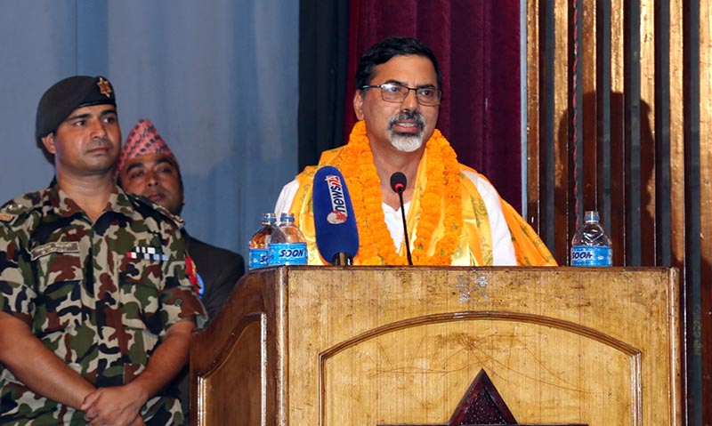 Home Minister Janardan Sharma speaking at the 'Fifth Earth National Folk Duet Song Award' in the Capital on Saturday, July 22, 2017. Photo: RSS