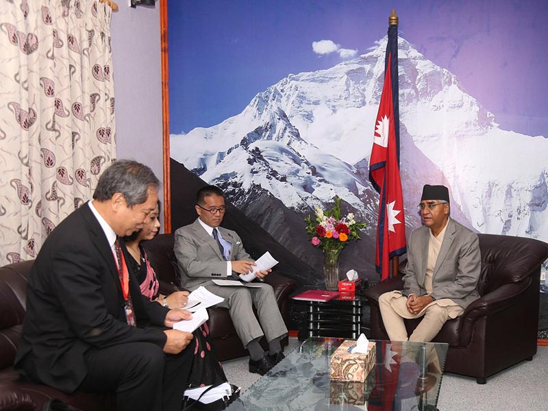 Japanese state minister Tadahiko Ito called on Prime Minister Sher Bahadur Deuba at the latter's office on Tuesday, July 18, 2017. Photo: Sher Bahadur Deuba Twitter