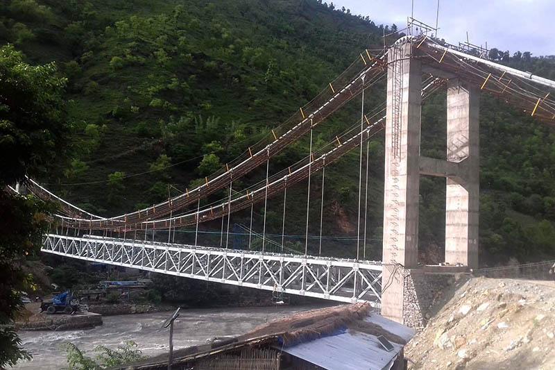 An under -construction bridge over Dudhkoshi river at Jayaramghat, on Wednesday, July 12, 2017. Photo: RSS