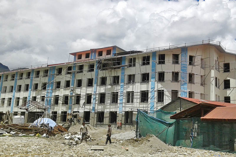 An under-construction building of Karnali Academy of Health Sciences in Jumla district, on Sunday, July 23, 2017. Photo: RSS