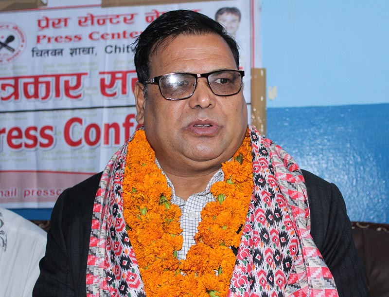 Deputy Prime Minister and Minister for Foreign Affairs Krishna Bahadur Mahara addressing a press meet organised by the Press Centre Nepal in Chitwan on Monday, July 10, 2017. Photo: RSS