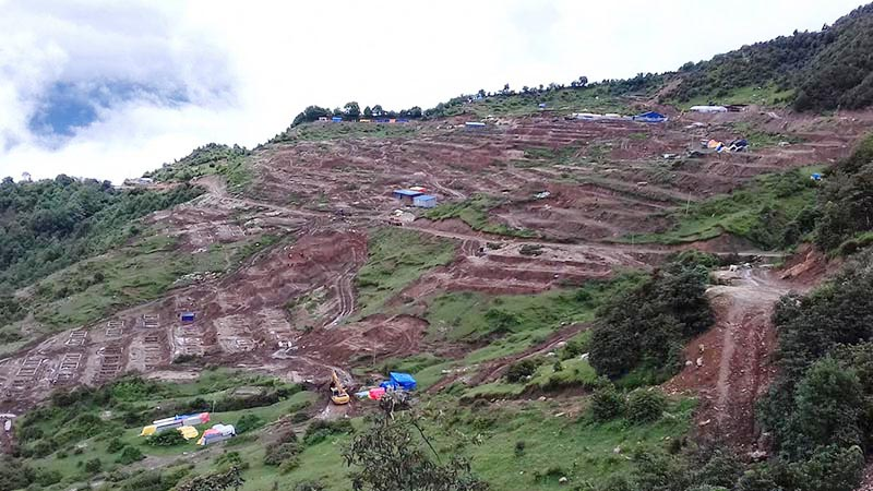 The Model Settlement Development Project site, in Laprak of Dharche Rural Municipality, Gorkha, on Tuesday, July 11, 2017. Photo: THT